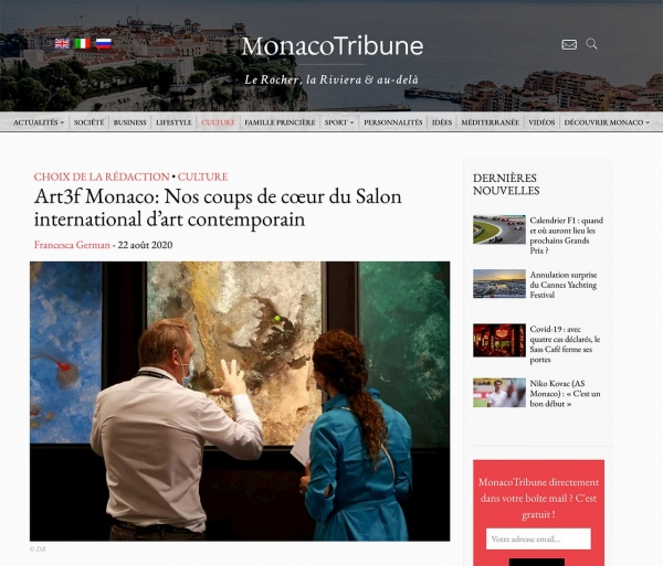 """Art3f Monaco: Nos coups de cœur du Salon international d'art contemporain"" (MONACO TRIBUNE)"