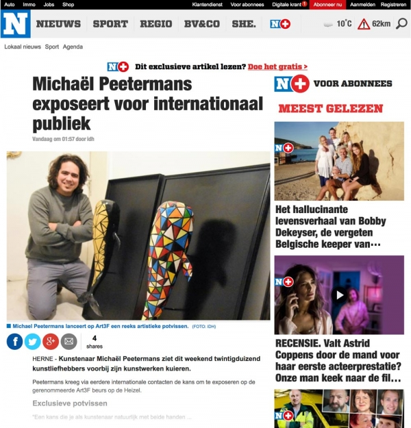 Hetnieuwsblad.be  - Michaël Peetermans exposeert voor internationaal publiek