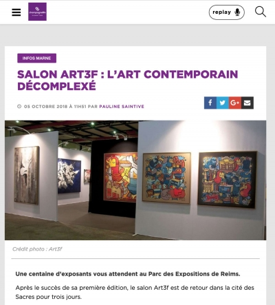 "Champagne FM: ""SALON ART3F : L'ART CONTEMPORAIN DÉCOMPLEXÉ"""